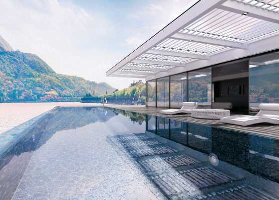 Luxuriöses Swimmingpool mit Mosaik-Auskleidung