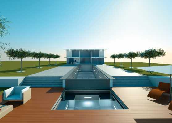 moderne und luxuriöse Gartenanlage mit Schwimmbad