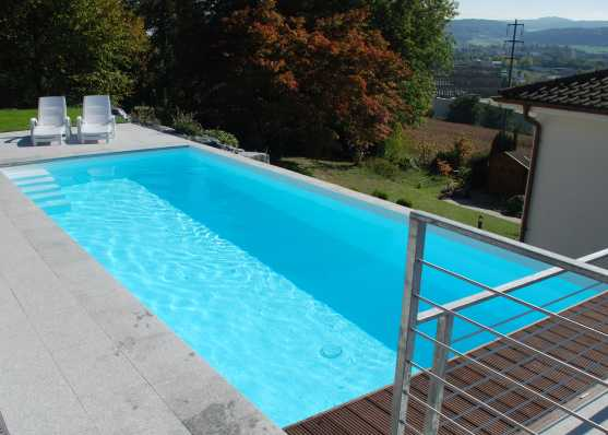 Schwimmbecken mit Holzrost und Plattenumrandung