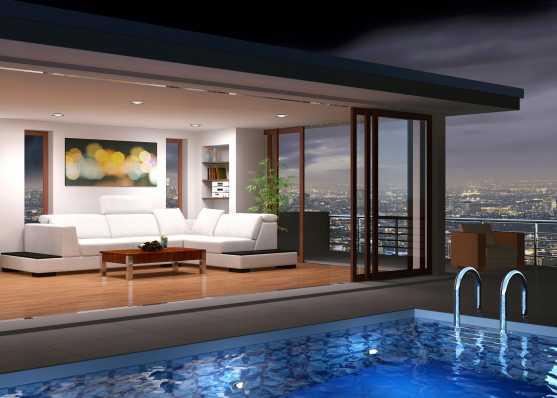 Luxus Attika Wohnung mit Schwimmbad beleuchtet